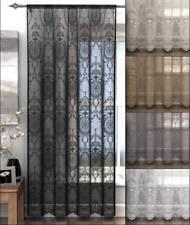 Holly Voile Panels - Slot Top Hanging Door Net Curtains Ornate Design Latte 183cm