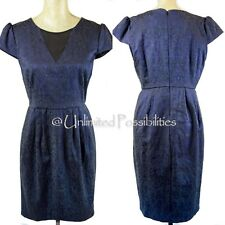 NEW PORTMANS Jacquard Dress Midnight Blue with Uneven Hemline Size 14 with Tags