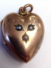 Fine Antique Victorian Puffed 9CT Rose Gold Heart Locket with Seed Pearls