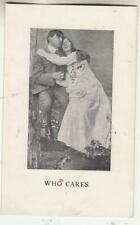 C07. Vintage Postcard. Who Cares? Romantic Couple Sitting on the Fence.