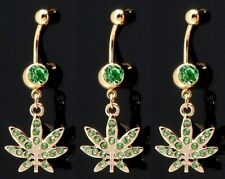 "7/16"" 14G gold plated 316L Surgical Steel 1 pc Gem Pot Leaf Dangle Belly Rings"