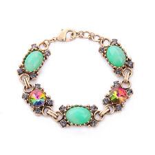 NEW Urban Anthropologie Guilaine Opal Green Bead Rainbow Rhinestone Bracelet
