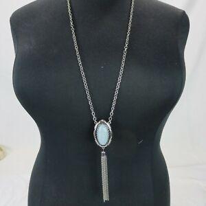 "Blue Turquoise Pendant Necklace Chain 34"""