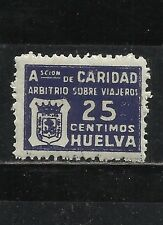 0518-FISCAL GUERRA CIVIL ARBITRIO VIAJEROS HUELVA 25 CT SPAIN CIVIL WAR BENEFICO