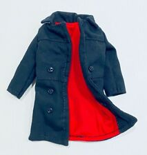 """KC-LTC-DLX-BK: 1/12 deluxe trench coat for 6"""" figures - Black w/ red lining"""