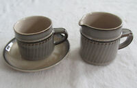 Denby Sonnet - Brown Rim with Tan Center - Cup with Saucer & 8 oz Creamer