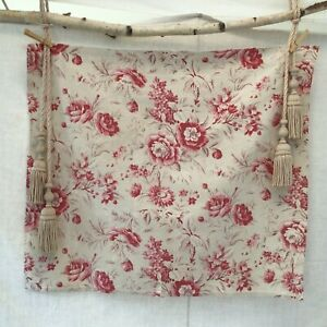 Lovely Antique French Heavy Cotton Fabric Floral Pinks Upholstery Home Decor