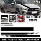 5pcs Car Side Body Door Racing Stripe Vinyl Hood Roof Decals Sticker Decor Black
