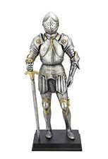 "11"" Armor Crusader Holding Sword Medieval Knight Statue Battle Warrior Sculpture"