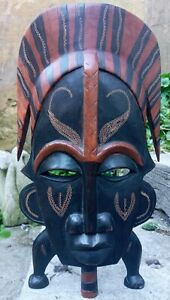 Jambo Kenya Hand Carved Wooden Mask Free Standing Or Wall Mountable