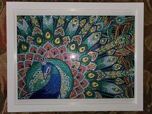 """Hand-Set Complete Framed 3D 'Active' Artwork: """"Peacock"""""""