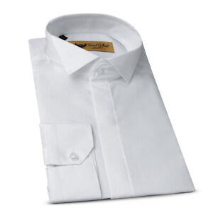Slim Fit Herren Hemd Weiß,Kläppchenkragen Smoking,Anzug,Hochzeit-Party-Festlich