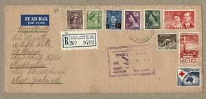 Australia New Zealand 1954 FFC Flight Cover Registered Mulitple Franking