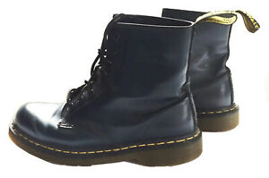DR. MARTENS Mens Sz 9 /Womens Sz 10 Smooth Leather Lace-Up Boots Navy Blue 1460