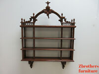 Antique Hanging Wall Shelf Etajere Display Plume Carved French Regency