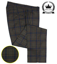 Relco Mens Blue Grey Tartan Check Sta Press Style Trousers Mod Golf Stay Pressed