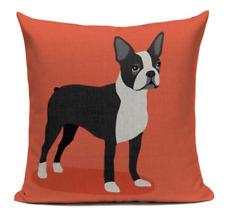 Boston Terrier B4 Cushion Pillow Zipper Cover Cartoon Pet French Bulldog Orange