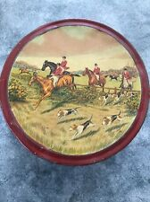 Rare Vintage  Biscuit Tin Horses & Hounds Fox Hunt