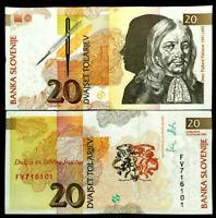 Slovenia 20 Tolarjev Banknote World Paper Money UNC Currency Bill Note