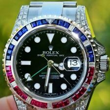 Rolex Mens GMT Master II 40mm Steel 116710 Diamond Ruby Bezel  for 18k White Gol