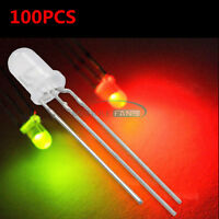 100pcs 5mm 3-Pin Dual Bi-Color Red/Green Diffused Common Cathode LED Diode Lamp