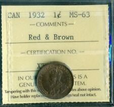 1932 Canada Small Cent, King George V, ICCS Certified MS-63 Red and Brown