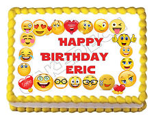 "EMOJI border edible party cake topper decoration frosting sheet image-7.5""x10"""