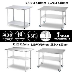 Commercial Work Prep Table Workbench Stainless Steel Backsplash w/Wheel Kitchen