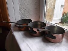 French 3 copper pots saucepans iron handle metal rivets 1 mm. - 1.2 mm. ,solid