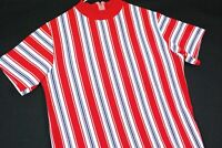 Vintage 70s Striped Polyester T Shirt Surf Skate Womens Red Mod Gogo Hipster