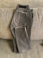 Burberry Brit Distressed Jeans Women's Size 28 Gray Zip Ankle