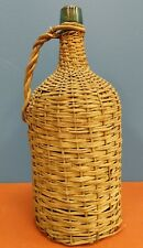 VINTAGE OR ANTIQUE DEMIJOHN BOTTLE BLUE-GREEN AQUA WICKER WRAPPED