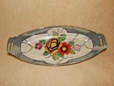 Antique Japanese Floral Serving Relish Dish Tray Bowl - Bone China - Iridescent