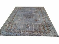 "9'9""x7' Vintage soft pastel pale light blue sky blue oushak overdyed rug carpet"