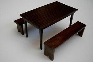 Handmade Dollhouse Miniature Wood Table and Benches - Walnut Finish