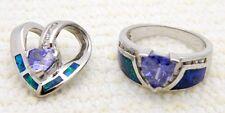 VTG Sterling Silver .925 Tanzanite Opal CZ Rhinestone Pendant Ring Set Size 7