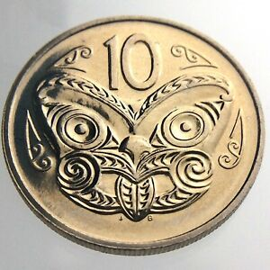 1980 New Zealand 10 Cent Copper Nickel KM 41.1 Uncirculated Lustrous Coin T916