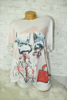 Italy New Collection T-Shirt Pop Art Girl Gr.36 38 40 42 blogger Vintage weiß