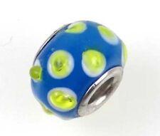 Lampwork Handmade Bead Big Hole Fit Bracelet Charm Blue Lime Dot