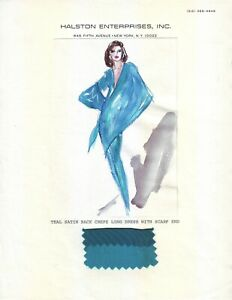 HALSTON Original Full Color Fashion Illustration for Jacqueline Onassis - 1984