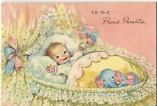 VINTAGE NEW BABY BASSINET CRADLE BLUE ELEPHANT RATTLE CUTE GREETING CARD PRINT