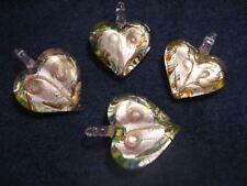 30X40X5MM HEART SILVER FOIL GLASS PENDANT (1)