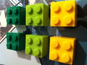 6 Retro Kitsch Fridge Magnets Greens & Yellow made using LEGO ®