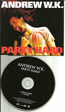 ANDREW W.K. Party hard w/ RARE ENHANCED VIDEO EUROPE Made PROMO DJ CD single wk
