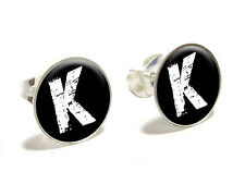 K Letter Black - White - Distressed Novelty Silver Plated Stud Earrings