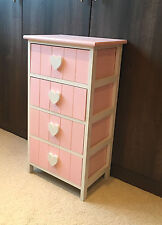Pink Storage Unit Chest Drawers Kids Girls Furniture Heart Bedside Table