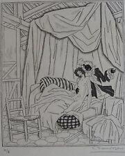 SAUVAGE SYLVAIN (1888-1948) : « …Ce feu que met au cœur des filles … ». signée