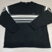 Southpole Crew Neck Sweater Mens 2XL Black Blue White Striped Tight Knit Ribbed