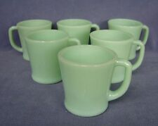 6 Anchor Hocking Fire King Oven Ware Jadeite Green Coffee Mugs with D Handles