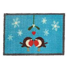 2 x Washable Robin Christmas Doormat by The Garden & Home Co. Great Value!
